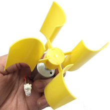 Yellow DC Micro Motor LED Lights Vertical Axis Wind Turbines Generator Blades