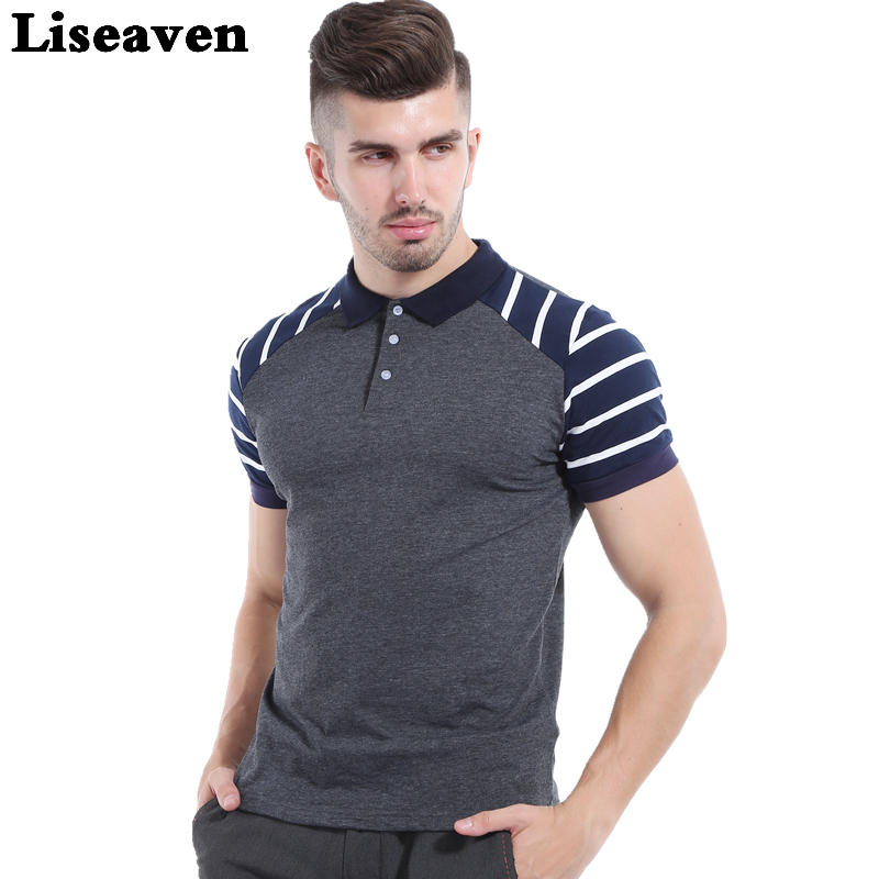 Liseaven New Men's Short Sleeve Shirt Bomull Slim Fit Polo skjorte herrer Striped skjorte for Herrer Topper Størrelse M L XL 2XL 3XL