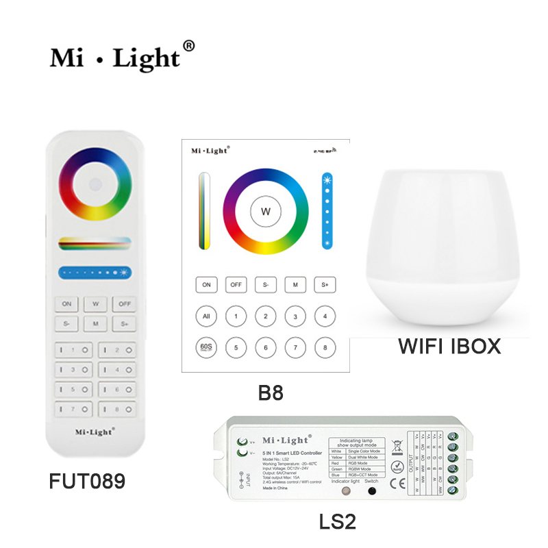MiLight WIFI IBOX 8 Zone FUT089 remote B8 Wall-mounted Touch Panel LS2 5IN 1smart led controller for RGB+CCT led strip milight wireless ls2 5in1 smart led controller b8 wall mounted touch panel control rgb cct led strip 8 zone rf remote controller