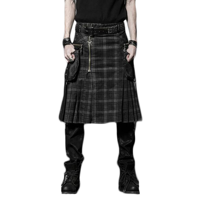 Punk Winter Men Loose Skirt With Pockets Scottish Kilt Gothic Ghost Head Zipper Plait Skirt Scotland Tartan Trousers