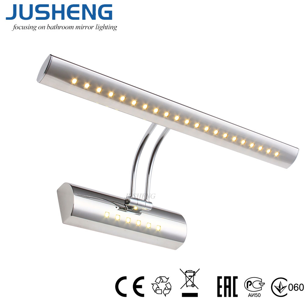 JUSHENG Vintage Indoor Wall Light with Swing arm in Bathroom Modern LED Mirror Light with switch Over Picture Lighting Fixtures
