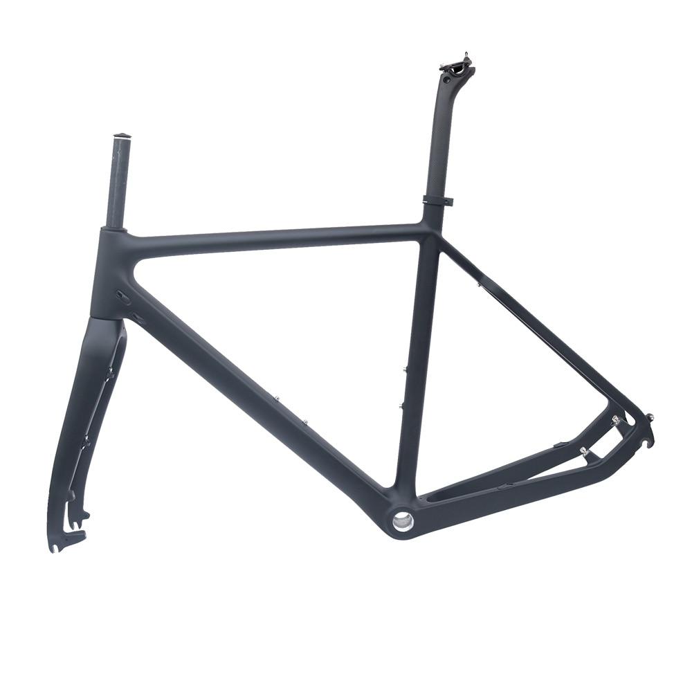 Cyclo-Cross Carbon Bike Frame Matt Black 51/53/55cm BSA Road Disc Bicycle Frame