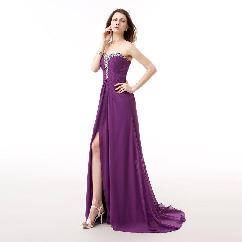 Forevergracedress Photos réelles violet longue robe de soirée Sexy sans manches en mousseline de soie perlée avec fente formelle robe de soirée grande taille - 3
