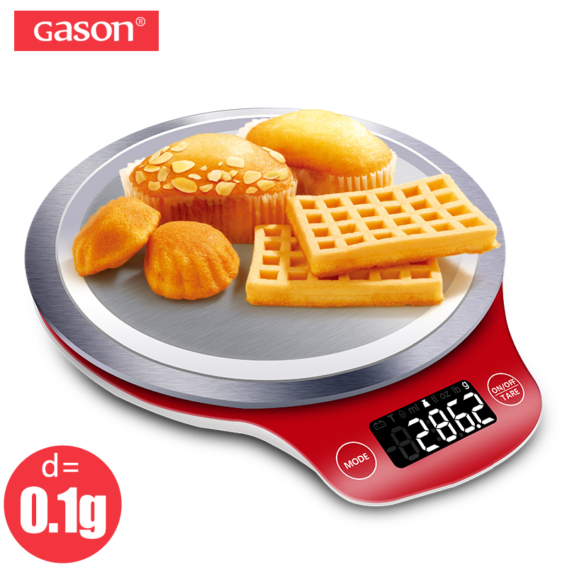 GASON C4 LCD Kitchen Scale Digital Gram Metal Electronic Accurate Balance Mini Cooking Food Measure Tools Pallet Food 3kgx0.1g