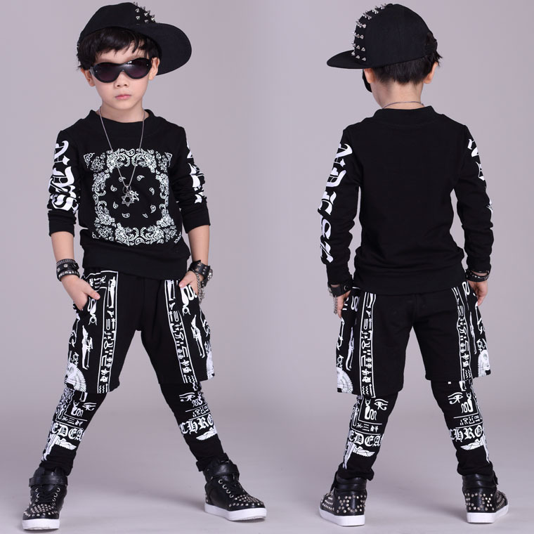 Fashion Kids Sets Suit Cotton New Casual Children Dance Clothes Hip-Hop Clothing For Teenager Black Printing Sports Suits Boys wholesale new fashion autumn casual sport suits tracksuits for kids gold chain printing hip hop outwear boys clothing sets