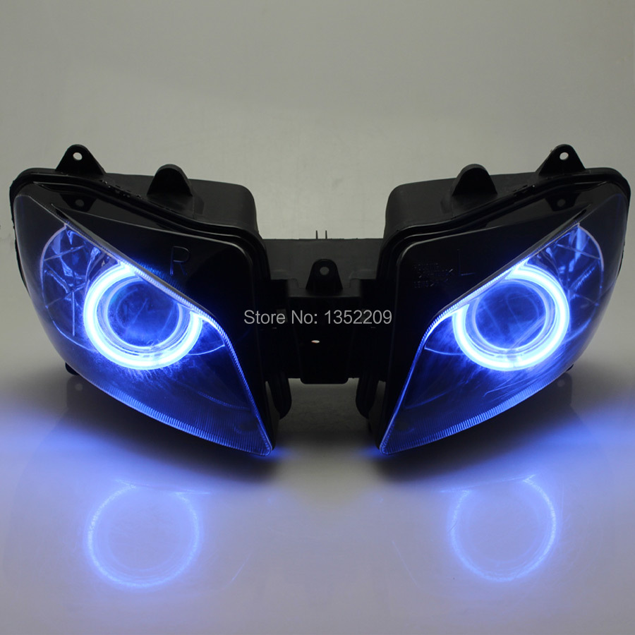 New Projector Headlight Assembly HID Blue Angel Eyes Demon For Yamaha YZF R1 1998-1999 Custom