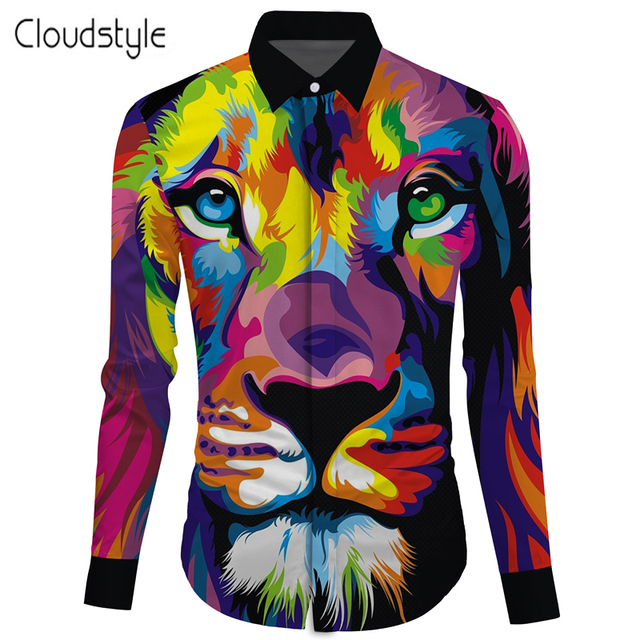 Cloudstyle Turndown collar shirt Colorful Lion Long Sleeve Shirt Ou code  M-2XL camisa masculina