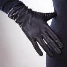 Frauen Aus Echtem Leder Handschuhe Schwarz Schaffell Finger Fahren Handschuhe Frühling Herbst Dünne Samt Gefüttert Warm Mode Fäustlinge TB13