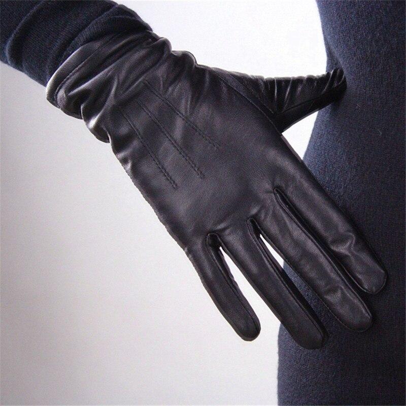 Women's Genuine Leather Gloves Black Sheepskin Finger Driving Gloves Spring Autumn Thin Velvet Lined Warm Fashion Mittens TB13