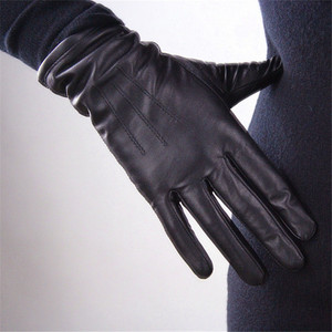 Image 1 - Womens Genuine Leather Gloves Black Sheepskin Finger Driving Gloves Spring Autumn Thin Velvet Lined Warm Fashion Mittens TB13
