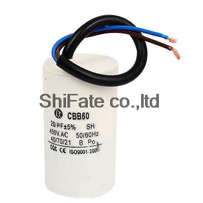 CBB60 20uF Wire Lead Cylinder Motor Run Capacitor AC 450V with Wire Lead