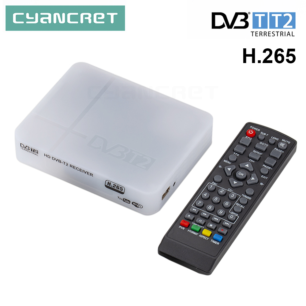 TV Receiver DVB-T2 / DVB-T H.265 / H.264 FHD Terrestrial Digital Decoder TV Tuner Set Top Box for Monitor Support Wifi Antenna