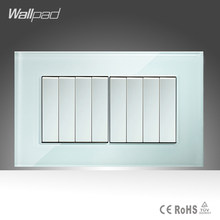 8 Gang 1 Way Switch Button Wallpad 146*86mm White Crystal Glass Electrica Power Push Button Lamp Switches Free Shipping(China)