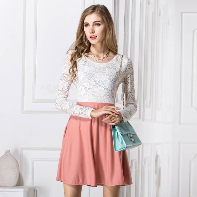 47d0d7121f3 placeholder Novelty design women lace patchwork dress Western vogue ladies  summer dresses long sleeve o-neck