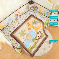 embroidered Baby Cot Bedding Set Baby cradle cot bedding set cunas ,include(bumper+duvet+bed cover+bed skirt)