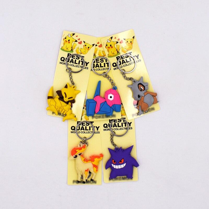 5Style New Arrival 4-6cm 3D Mini Figure Key Ring Cartoon Figures PVC Pikachu Cubone Porygon Abra Gengar Ponyta Keyrings