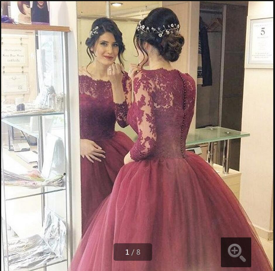 New Arrival Burgundy Wedding Dresses Lace Three Quarter Sleeve Ball Gown Wedding Dress Elegant Vestido De Noiva