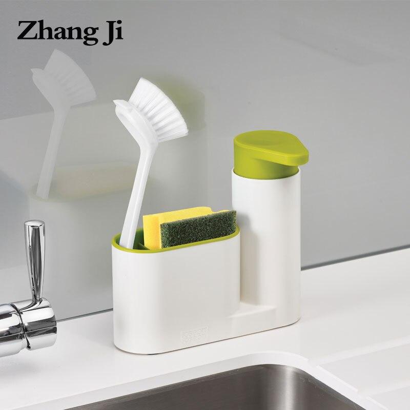Zhangji multifunción dispensador de jabón con esponja estante de almacenamiento de baño portátil ABS cocina tipo de empuje de dispensador de jabón líquido