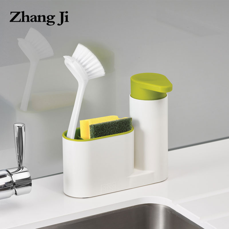 Zhangji Multifunction Soap Dispenser with Sponge Storage Shelf Bathroom Portable ABS Kitchen Push Type Liquid Soap Dispenser