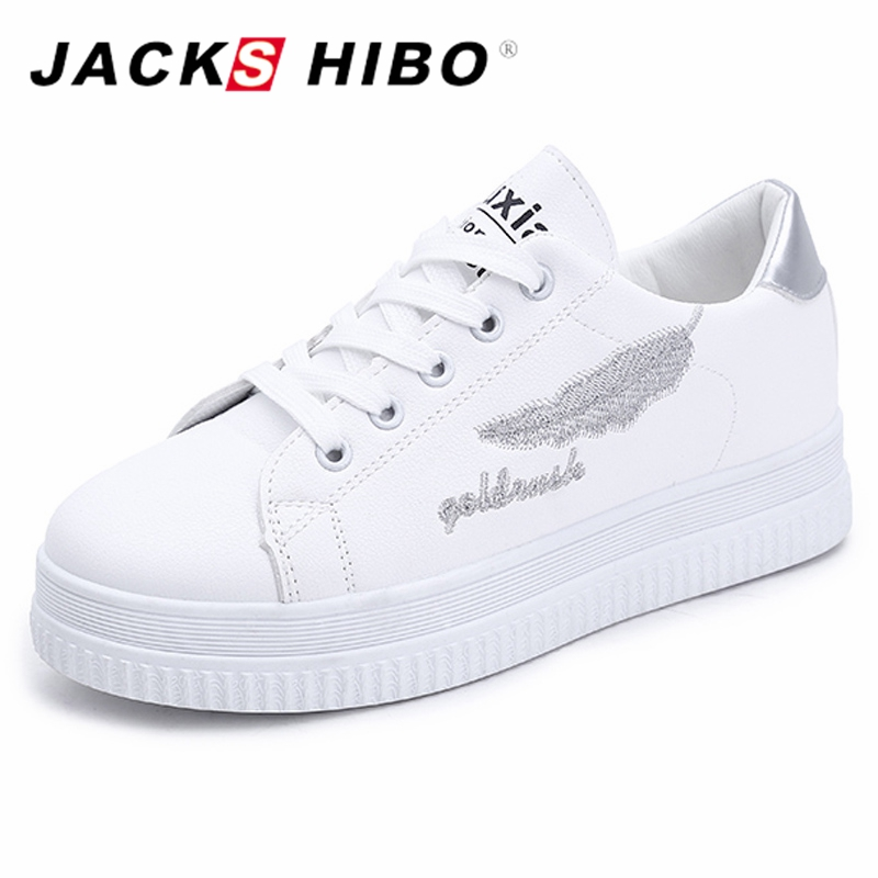JACKSHIBO Fashion Women Platform Shoes 2018 Spring Thick Soled Sneakers for Woman White Color Ladies Shoes Zapatos Mujer