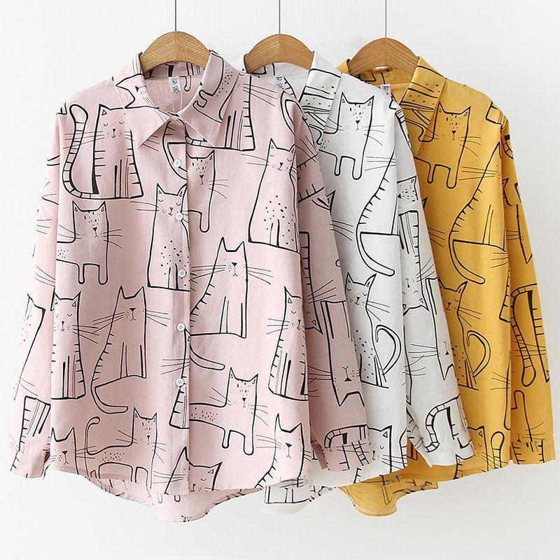 Cotton Cute Cat Print Loose Casual Ladies Blosues Tops Women Turn Down Collar Long Sleeve Shirt Blouse Shirt Blusa 2019 Fashion