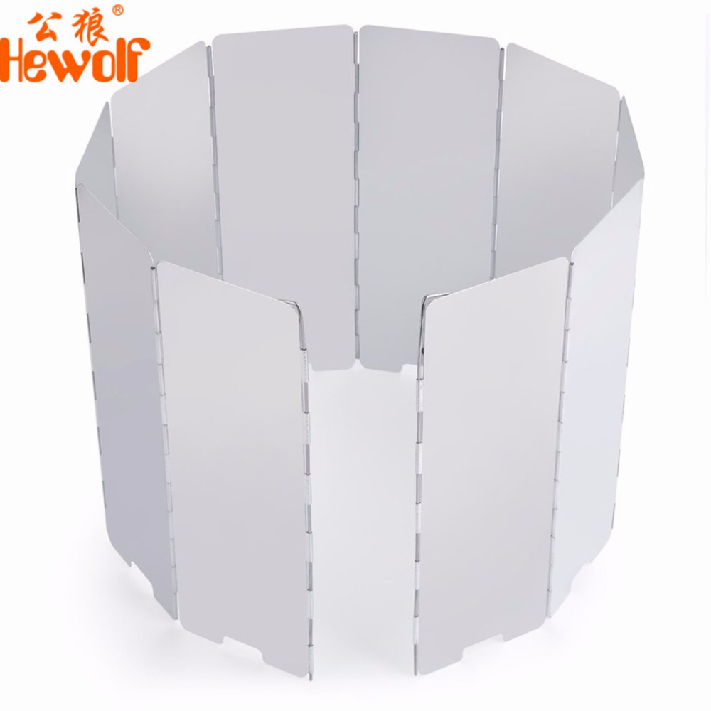 Hewolf 10 Plates Foldable Aluminum Alloy Cooker BBQ Gas Stove Wind Shield Screen Picnic Camping Picnic Cooker Stove Wind Screen