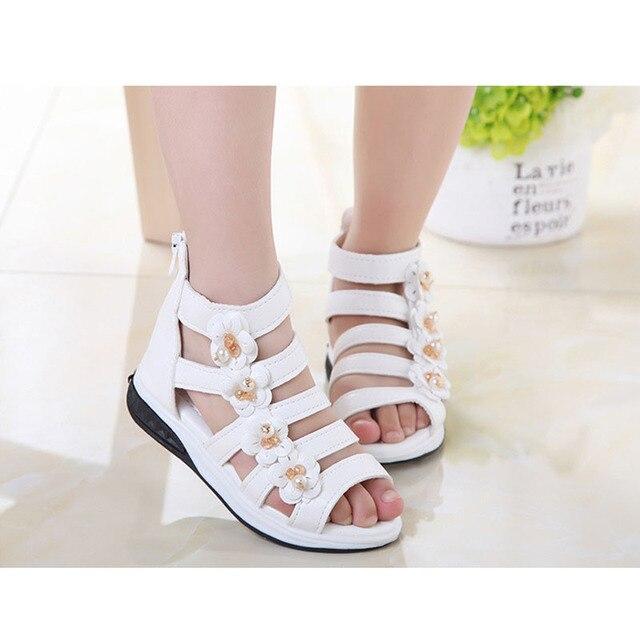 38f5e4c5cc9 Summer Children Sandal Flowers Girls Gladiator Sandals Rubber Rubber Child  Dress Shoes For Girl Baby Sandals US Size