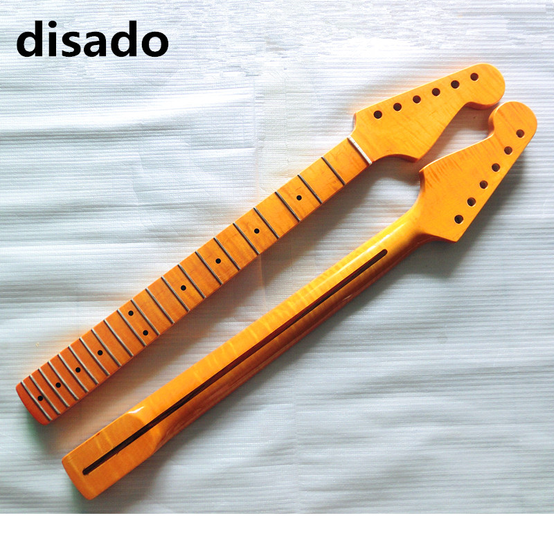 disado 21 Frets Tiger flame maple Electric Guitar Neck maple fretboard Wholesale Guitar Parts musical instruments accessories 2017 genuine cowhide leather women wallets fashion purse card holder vintage long wallet clutch wrist bag k103