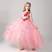 Summer Girl dress Costumes Princess dress Children's wedding dress tutu Little host piano performance costume flower girl dress все цены