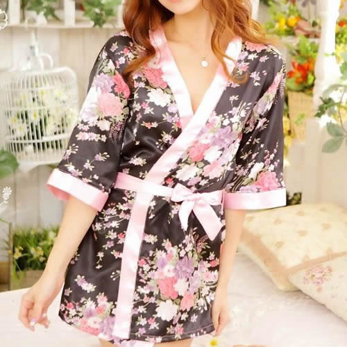 Women\'S Sexy Sleepwear Lingerie Robe Japanese Kimono Costume Nightgown Uniform
