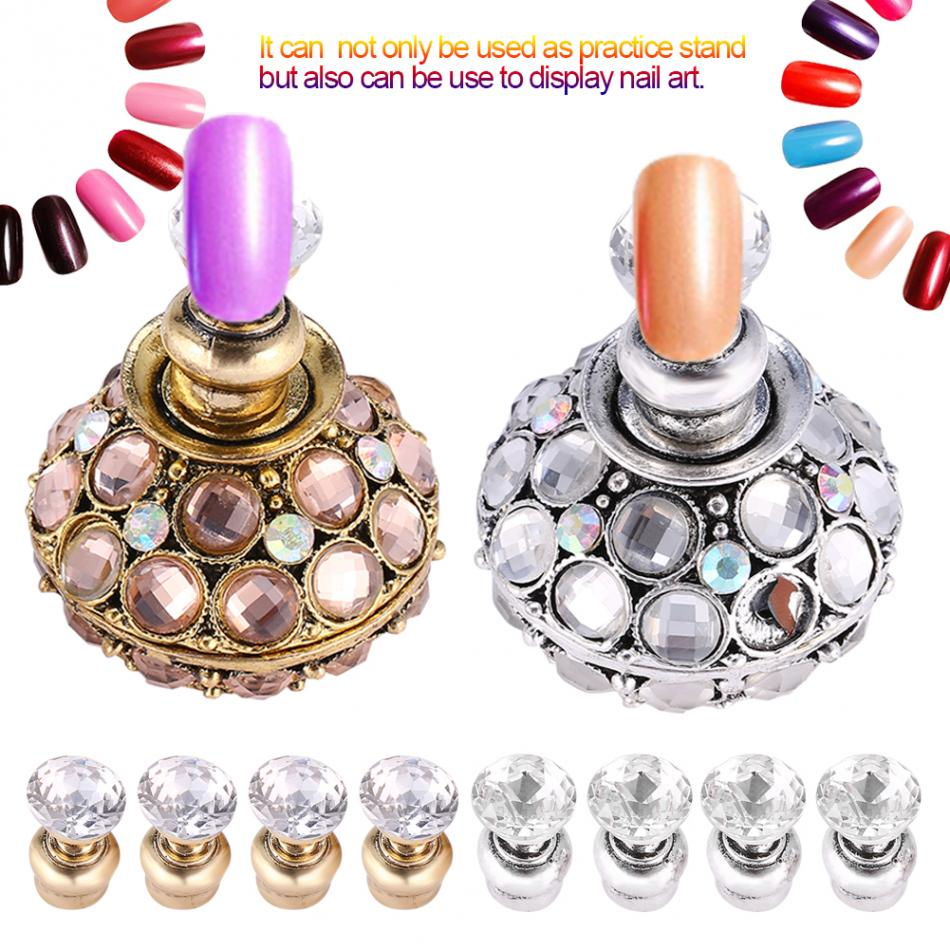 2 Colors Magnetic False Nail Tips Practice Stand Holder Set Rhinestones Nail Holder Showing Shelf Nail Art Display Manicure Tool 1 roll 10m clear nail double side nail adhesive tape strips tips transparent manicure nail art tool