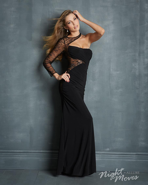 Sexy long evening dresses Dramatic beaded illusion sheer full sleeve floor  length gown slightly ruched bodice Asymmetrical dress 53541bdb31d6
