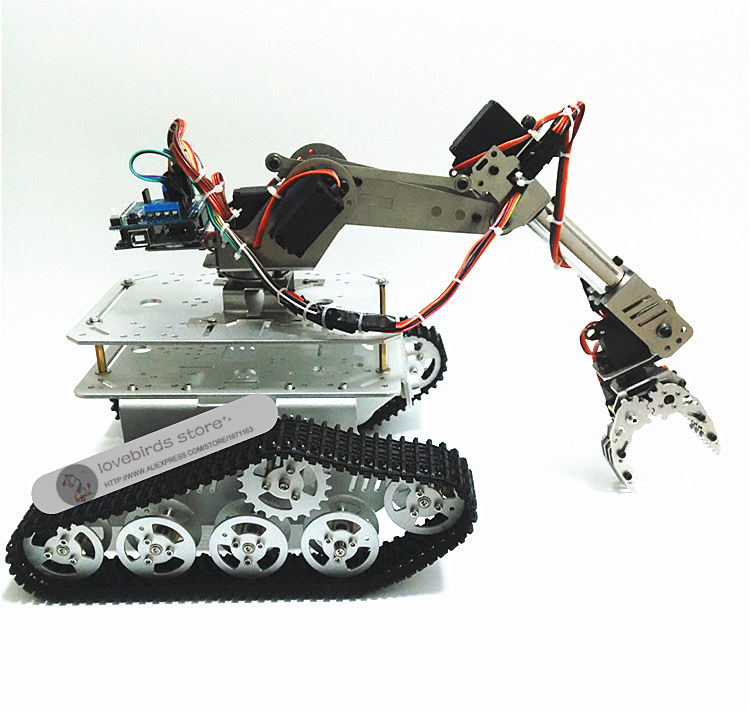 DIY Tracked Robot frame model 7 DOF ABB manipulator + TK3A tracked Chassis with motor + servo control board and XD-229 AUNO R3 intelligent force and position control of 6 dof robot manipulator