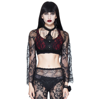 EVA LADY 2018 New Sexy Lady T shirts Black Lace Gothic Top Tees See Through T shirt With Necklace Women's Short 2 Sets Tees