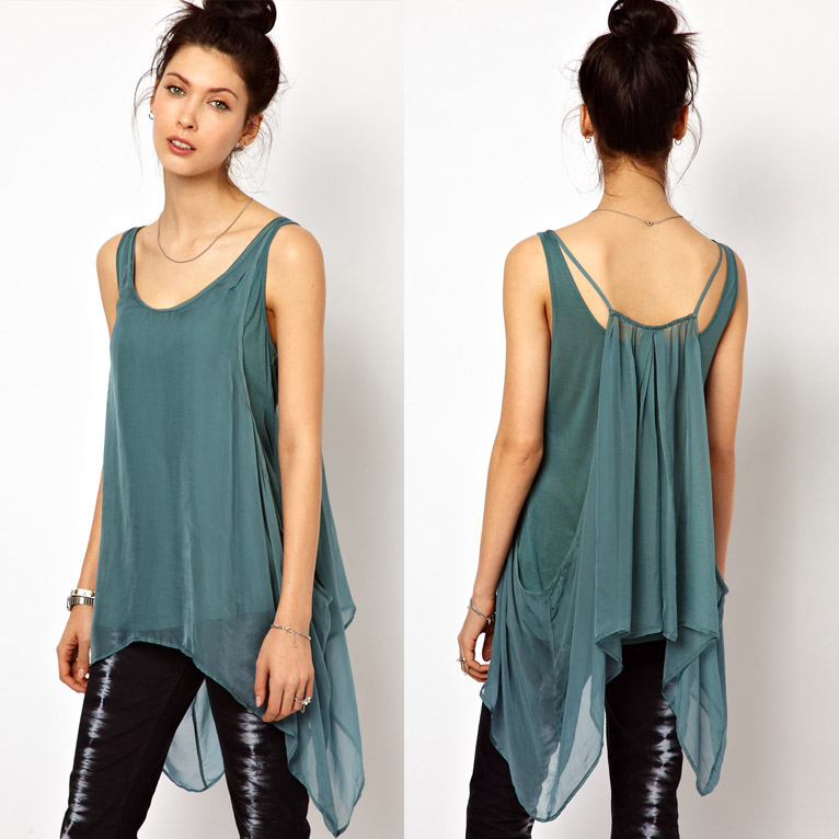 f460a41842a5e New brand design double women tops loose chiffon v-neck Mercerized sequin  top cotton double sided vest women crop top F558