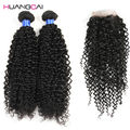 8A Grade Peruvian Virgin Hair kinky curly With Closure kinky curly Human Hair 3bundle With Closure peruvian hair with closure