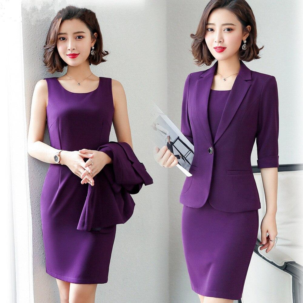 Women Suits Dress Suits 3/4 Sleeve Slim Blazer+Sleeveless Dress