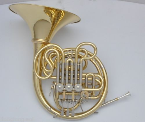 High grade gold lacquer Four key French Horn with case.Bb/F 8x sliver copper alloy french horn mouthpiece for conn king french horn page 1