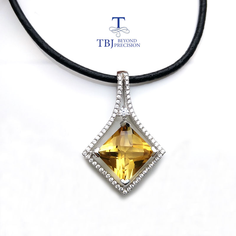 цена на TBJ ,Square shape pendant in 925 sterling silver with nautral citrine checkerboard cut luxury shiny pendant for women as gift