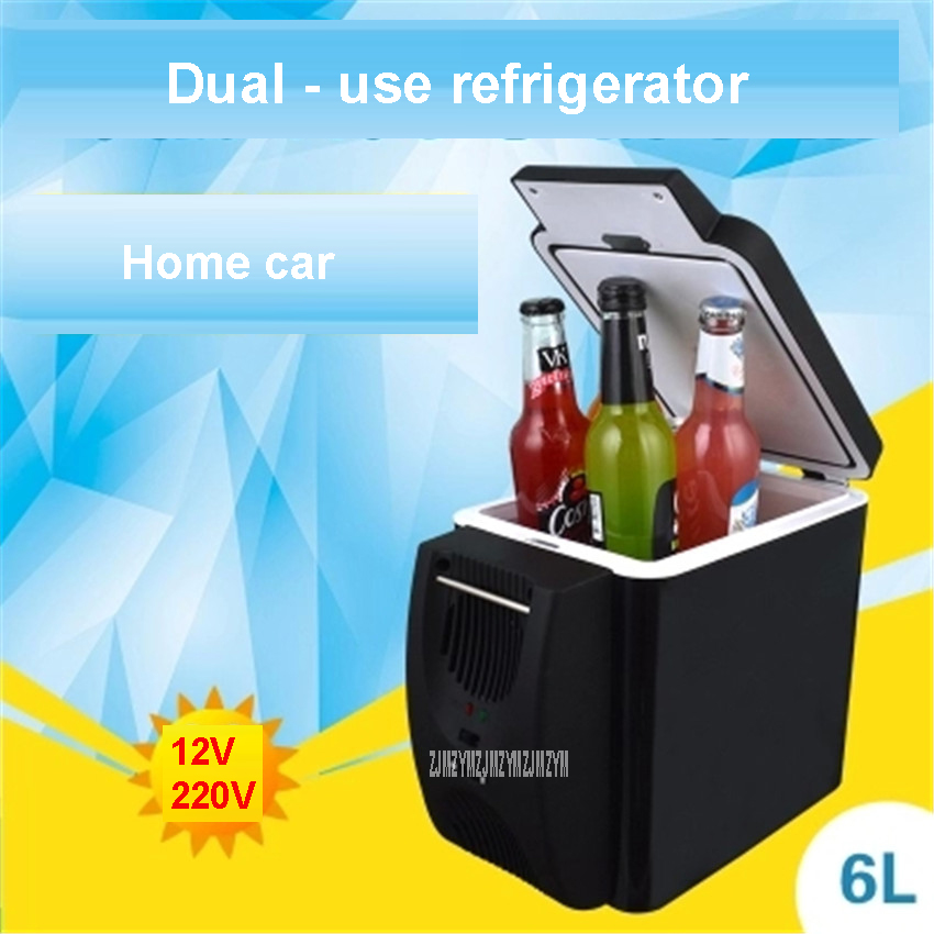 6L Mini Car Fridge Warming Device 2 In 1 Multi-function 12 V Travel Fridge Freezer Refrigerator Dual-use Hot And Cold Box 28-48W