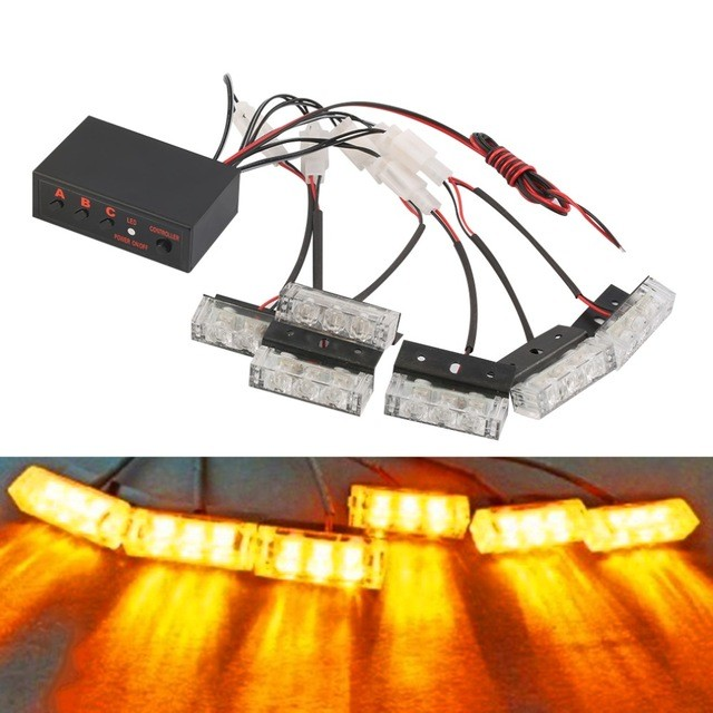 03016 Style Car 12V 3X6LED 18LED Red Stroboscopic Light with 3 Mode Controller car flash light emergency warning light car auto police style car dc 12v 96 led red blue stroboscopic light with 3 mode controller
