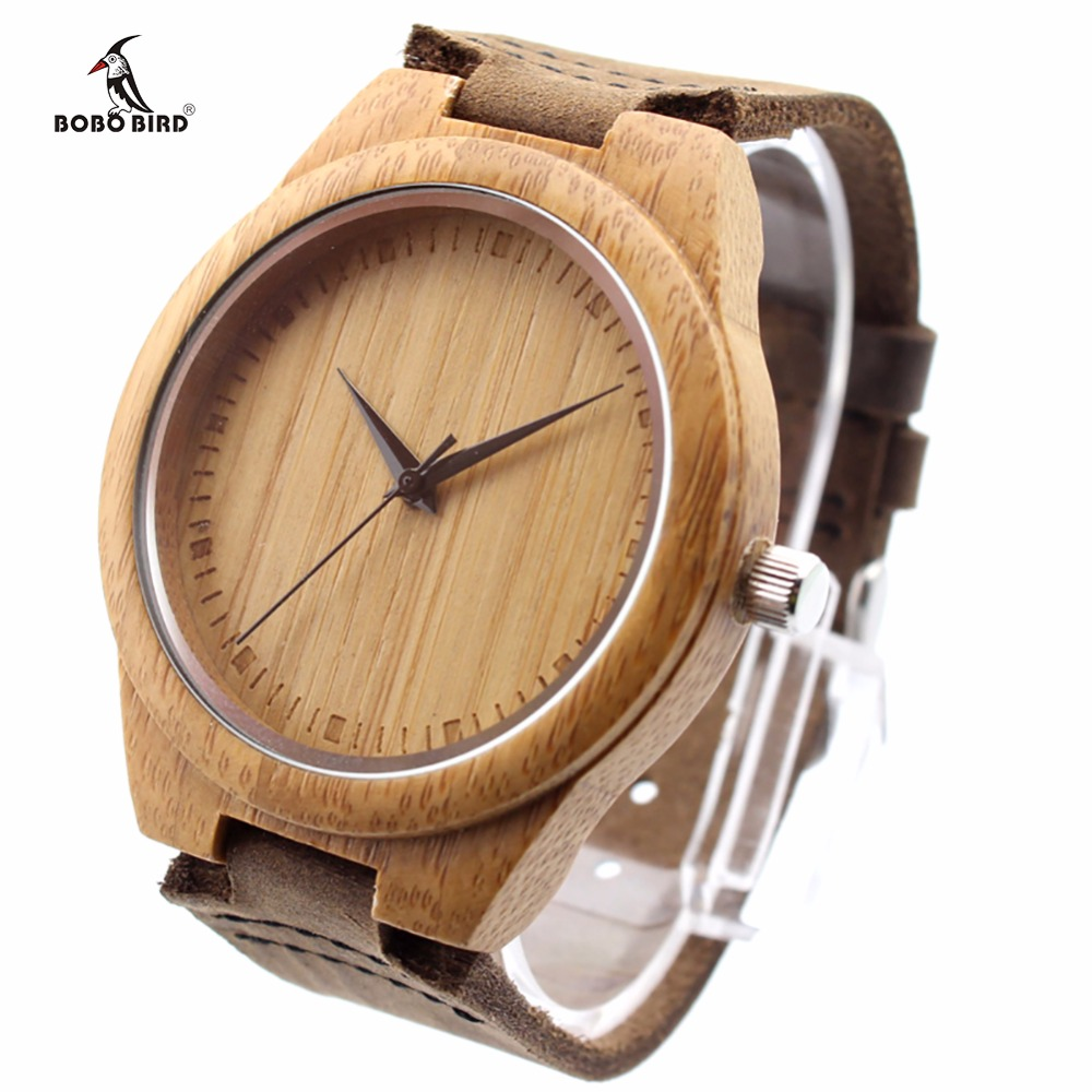 BOBO BIRD Unik Lover Natural Bamboo Wood Casual Quartz Watches Klassisk stil med äkta läderband i presentförpackning