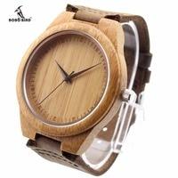 Men S Sustainable Wooden Bamboo Unique Watch In Black Japanese Quartz