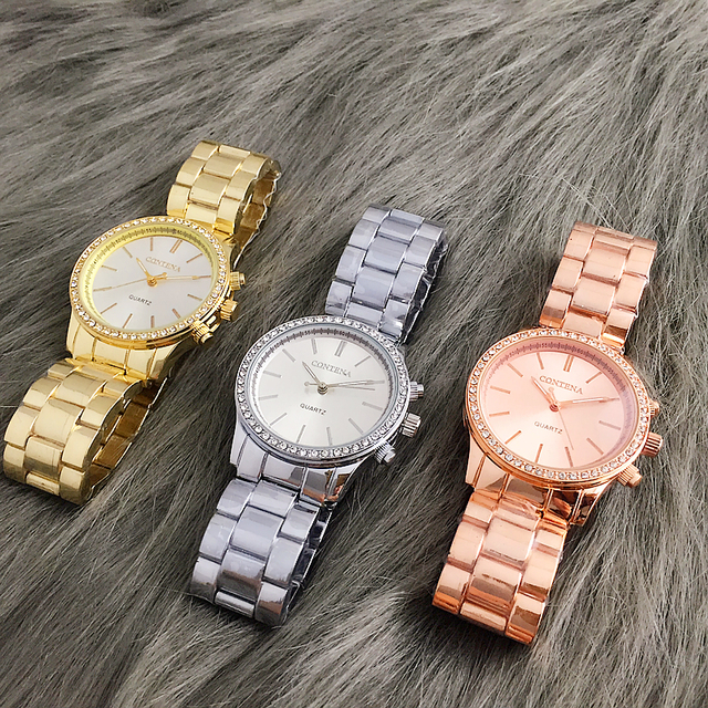 2018 New Contena Quartz-watch Women Dress Watches Luxury Fashion Brand Ladies Metal Bracelet Stainless Steel Vogue Watches