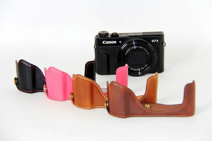 New PU leather Camera Case Half Bag For Canon Powershot G7X II G7X mark 2 G7XII G7X Digital Camera