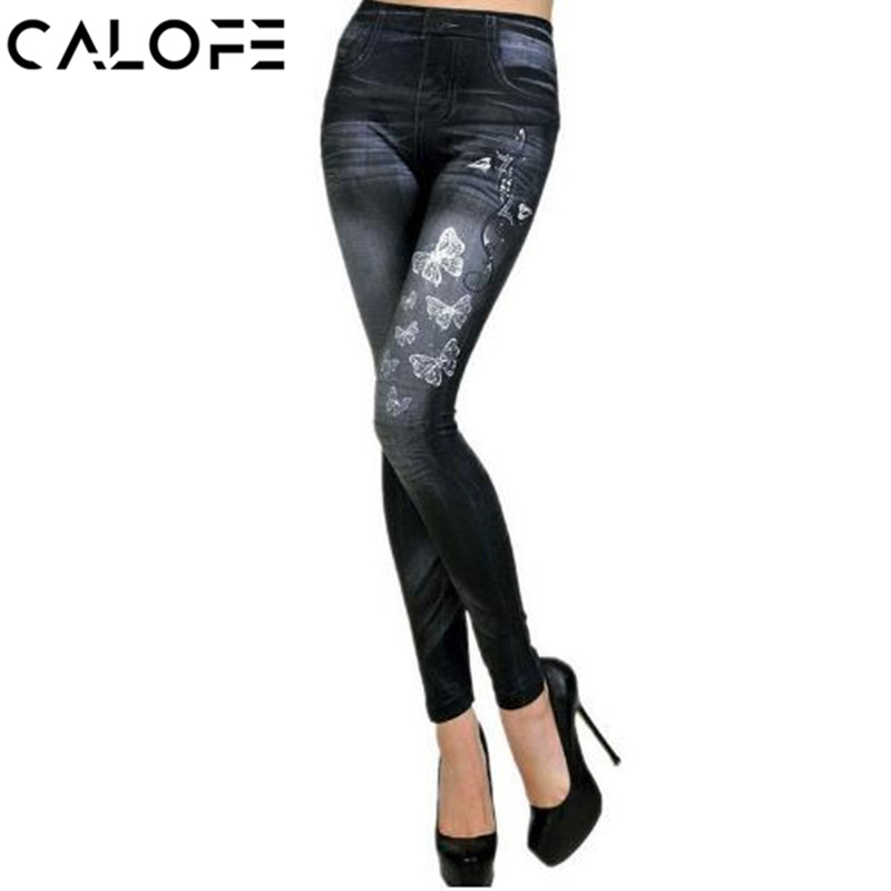 CALOFE Leggings Women 2018 Spring New Skinny Jeans Low Waist Butterfly Printing Pencil Trousers Female Casual Denim Pants