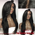New Wholesale 180% Density Natural Straight Wig Black Heat Resistant Hair Wig Synthetic Lace Front Wig Perruque Women Pelucas