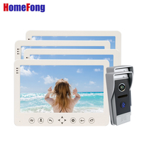 Homefong 10 Inch Motion Detection Video Door Phone System for 4 Apartments Ring Doorbell 2 Supported SD Card /PIR Alarm