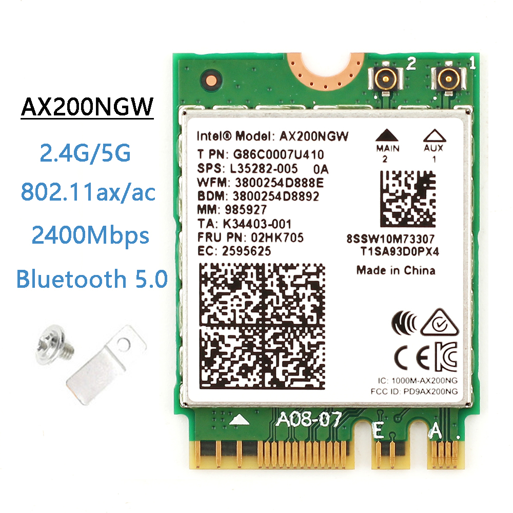 Dual Band 2.4Gbps Wireless Intel Wi-Fi 6 AX200 Bluetooth 5.0 802.11ax/ac MU-MIMO 2x2 Wifi NGFF M.2 Network Wlan Card AX200NGW