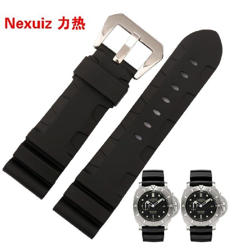 Uhrenarmband 24mm 26mm NEUE MÄNNER TOP GRADE Schwarz Wasserdicht Klettern Silikonkautschuk Uhrenarmbänder Armbänder Kostenloser Versand